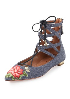 Aquazzura Belgravia Embroidered Denim Flat