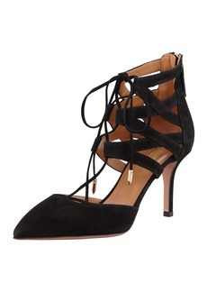 Aquazzura Belgravia Lattice Suede Sandals