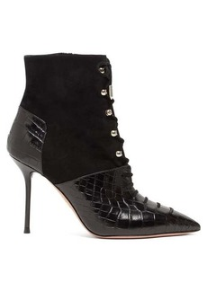 Aquazzura Berlin 95 crocodile-effect leather boots