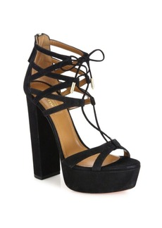 Aquazzura Beverly Hills Plateau Suede Lace-Up Sandals