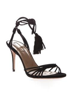 Aquazzura Black Suede Ankle Tie Sandals