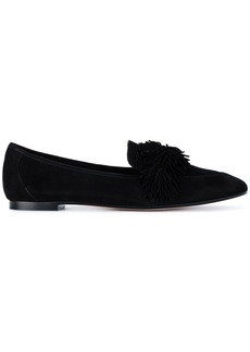 Aquazzura Black Wild Suede Loafers