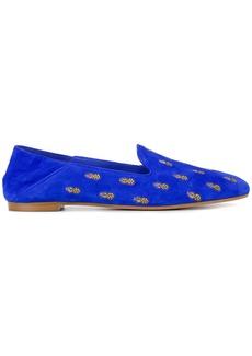 Aquazzura Blue Ananas Suede slippers