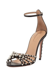 Aquazzura Bon Bon Beaded Ankle-Strap Sandal
