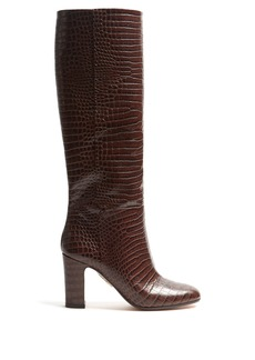 Aquazzura Brera 90 block-heel crocodile-effect leather boots