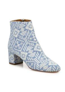 Aquazzura Brooklyn Embroidered Denim Block Heel Booties