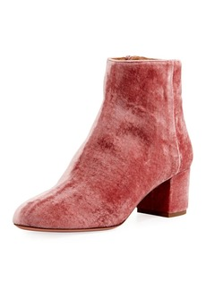 Aquazzura Brooklyn Velvet Block-Heel Boot