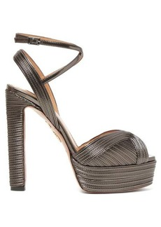 Aquazzura Caprice 130 metallic-leather platform sandals