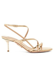 Aquazzura Carolyne 60 metallic-leather sandals
