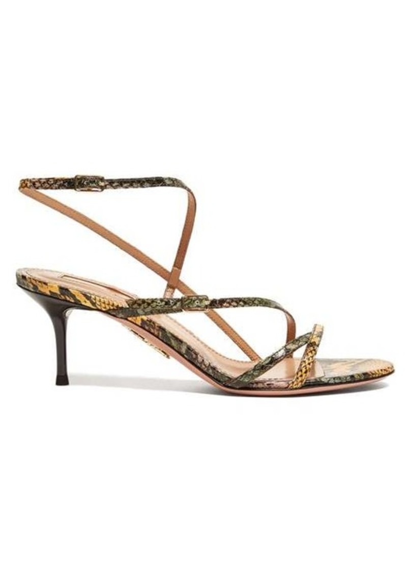 Aquazzura Carolyne 60 python-print leather sandals