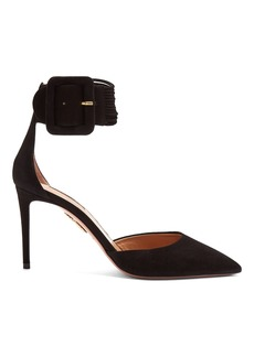 Aquazzura Casablanca 85 multi-strap suede pumps