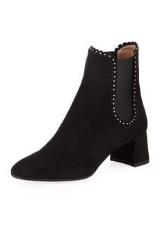 Aquazzura Catroux Low-Heel Studded Suede Booties