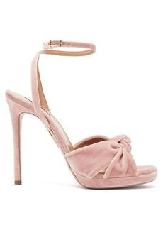 Aquazzura Chance 115 knotted velvet sandals