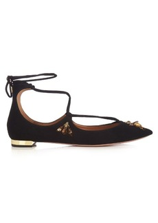 Aquazzura Christy bee-embellished suede flats