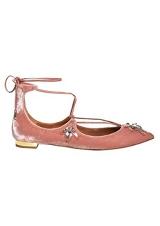 Aquazzura Christy bee-embellished velvet flats