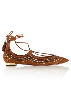Aquazzura Christy embroidered suede flats