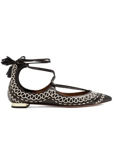 Aquazzura Christy Folk embroidered leather flats