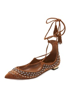 Aquazzura Christy Folk Suede Ankle-Wrap Flat