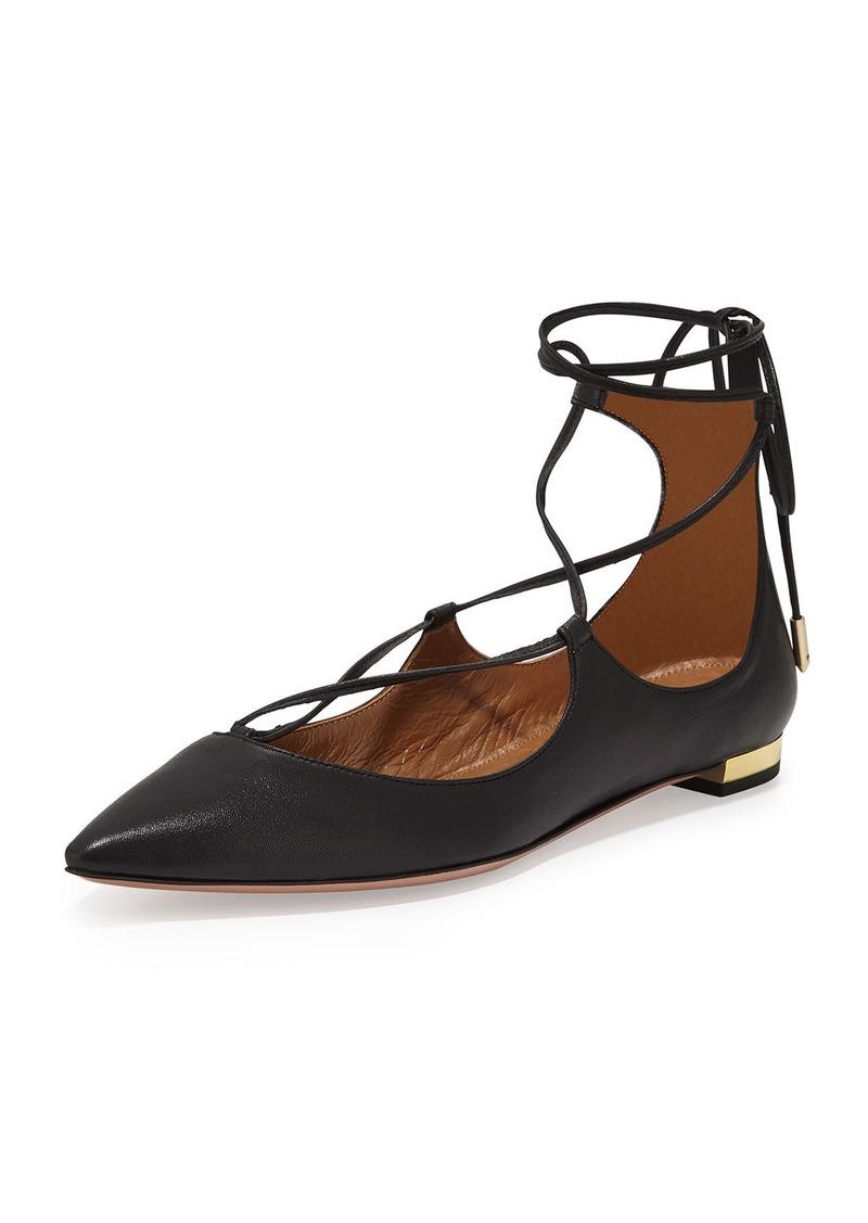 Aquazzura Christy Lace-Up Pointed-Toe Flat  Black