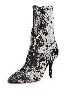 Aquazzura Costes Sock Sequin Booties