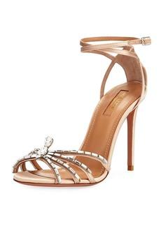 Aquazzura Crystal Spider Ankle-Wrap Sandal