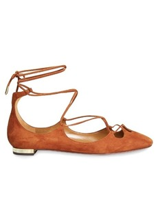 Aquazzura Dancer wraparound suede flats