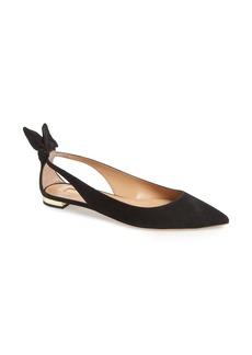 Aquazzura Deneuve Bow Pointy Toe Flat (Women)