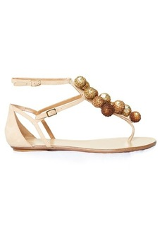 Aquazzura Disco sequinned-pompom suede flat sandals