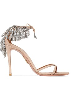 Aquazzura Eden Crystal-embellished Suede Sandals