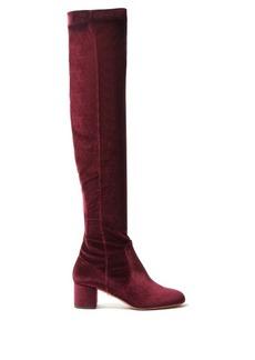 Aquazzura Essence velvet over-the-knee boots