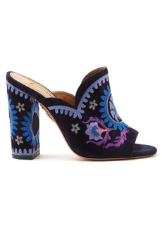 Aquazzura Evie floral-embroidered mules