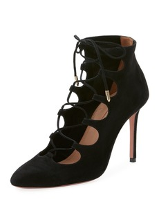 Aquazzura Flirt Cutout Lace-Up Booties