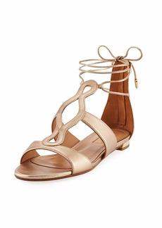 Aquazzura Flirt Metallic Flat Ankle-Tie Sandal