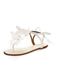 Aquazzura Flora Petal-Embellished Flat Bridal Sandal