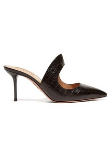 Aquazzura Forever 75 cut-out crocodile-effect leather mules