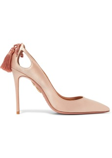 Aquazzura Forever Marilyn cutout tasseled satin pumps