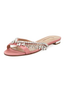 Aquazzura Gem Palace Satin Flat Sandal