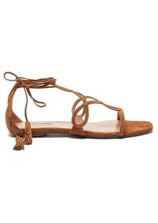 Aquazzura Gitana tasselled wraparound-strap suede sandals