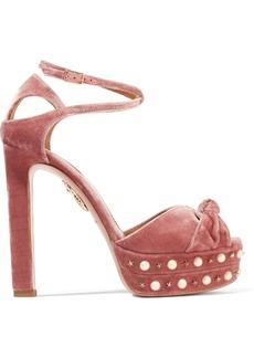 Aquazzura Harlow embellished velvet platform sandals