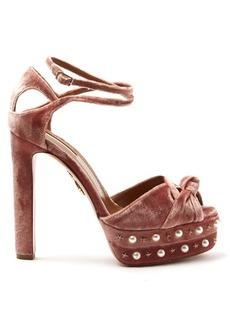 Aquazzura Harlow embellished velvet sandals