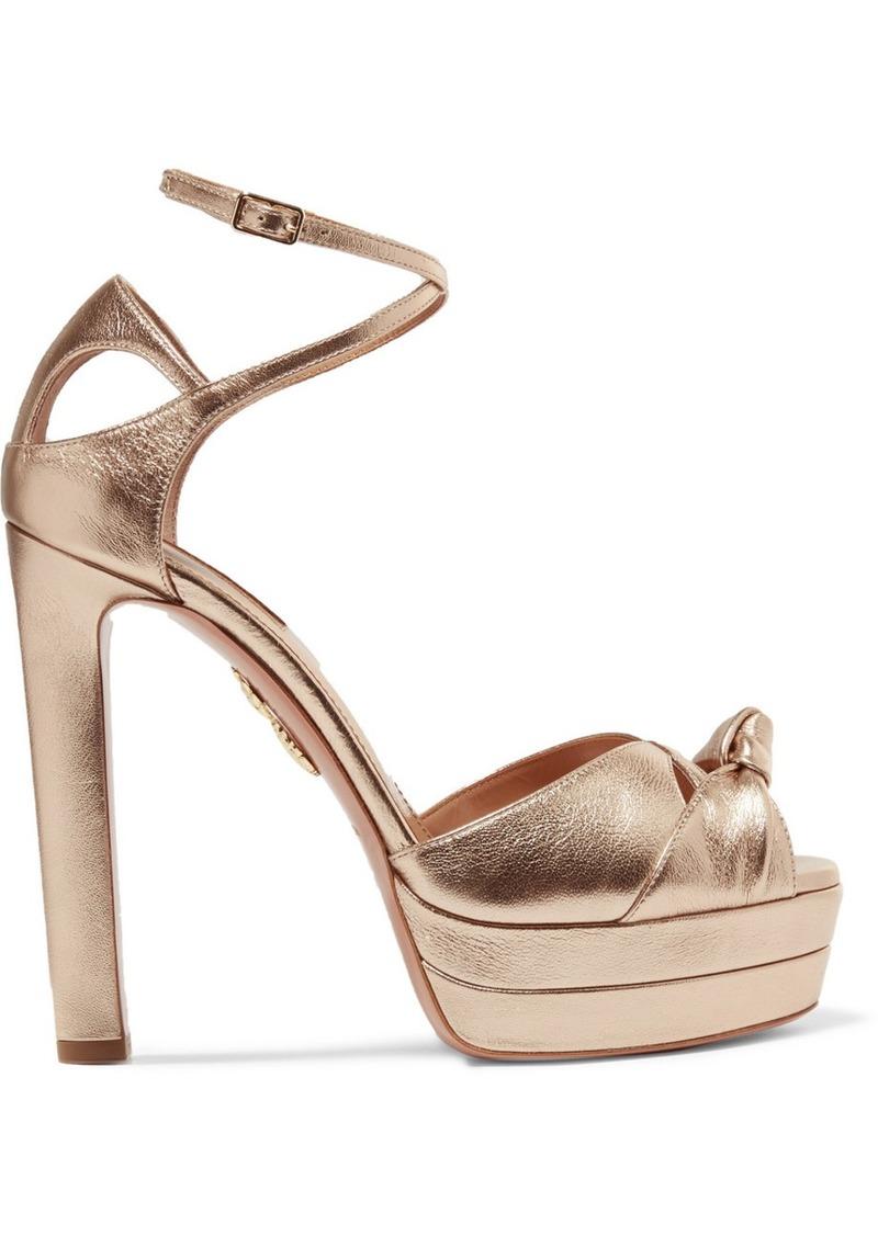 72b6e61d66f Aquazzura Harlow metallic textured-leather platform sandals