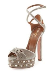 Aquazzura Harlow Pearls Velvet Platform Sandal