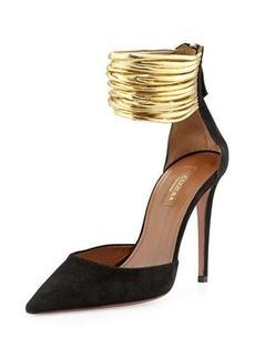 Aquazzura Hello Lover Suede Ankle-Strap Pump
