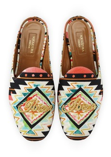 Aquazzura Ibiza Printed Satin Mule Loafer