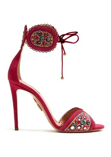Aquazzura Jaipur 105 embroidered suede sandals