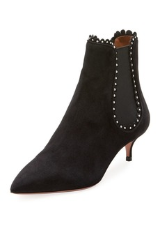 Aquazzura Jicky Studded Low-Heel Chelsea Boot