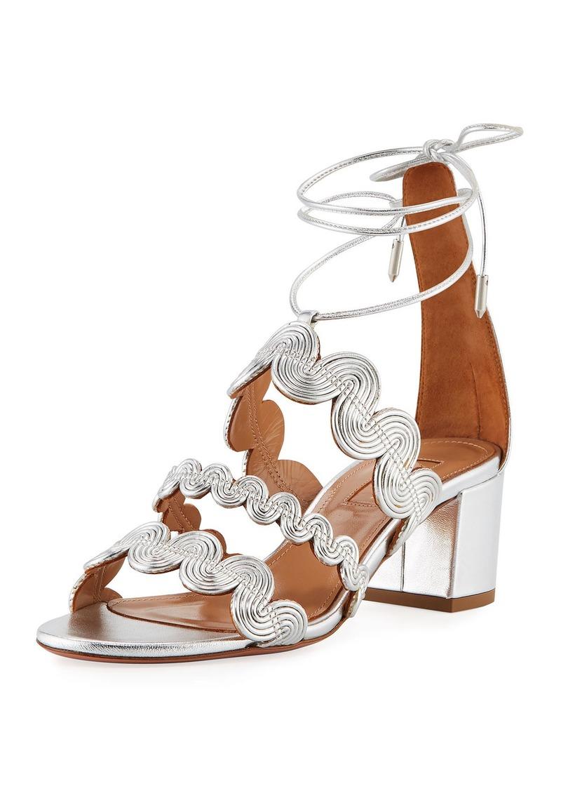 Aquazzura Jodhpur Metallic Ankle-Wrap Sandal