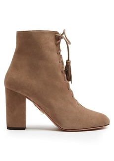 Aquazzura Jourdan lace-up suede ankle boots