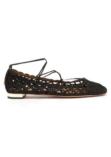 Aquazzura Kya macramé-lace and suede flats