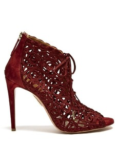 Aquazzura Kya macramé-lace and suede sandals
